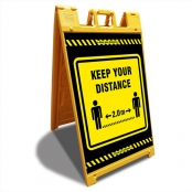 Keep your Distance 2,0 m Geel Signicade ® A-Frame