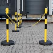 Verzinkte kettingpalen set Heavy Duty Geel/Zwart